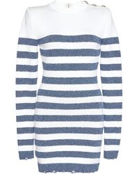 Balmain Long-sleeved Striped Mini Dress - White