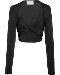 Significant Other Bambi Lurex Cropped Top - Black