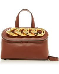 JW Anderson Lid Chain Leather Top Handle Bag - Brown