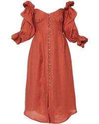 Cult Gaia Simona Off-the-shoulder Midi Dress - Orange