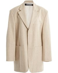 Jacquemus Oversized Linen-blend Blazer - Natural