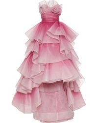 Marchesa Tiered-ruffle Strapless Tulle Gown - Pink