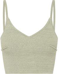 Anna Quan Nellie Ribbed-knit Cotton-blend Crop Top - Green