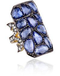 Sylva & Cie Ten Table 18k Gold Sapphire Ring - Blue