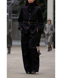 Mark Kenly Domino Tan Per Cotton Wide-leg Trousers - Blue