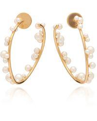 Lauren X Khoo Orb 18k Gold And Pearl Hoop Earrings - Metallic