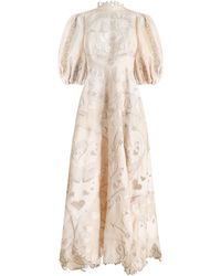 Zimmermann The Lovestruck Silk-linen Lace Gown - White
