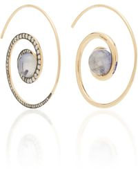 Noor Fares Spiral Moon 18k Gold Diamond And Iolite Earrings - Blue