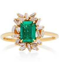 Suzanne Kalan - One-of-a-kind 18k Yellow Gold Emerald And Diamond Ring - Lyst