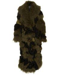 Michael Kors Camouflage Fur Coat - Green