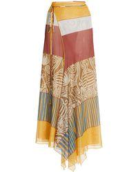 Alexis Remina Printed Jersey Midi Wrap Skirt - Multicolor