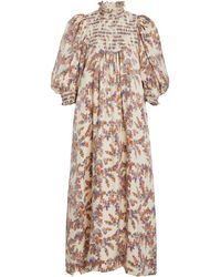byTiMo Smocked Poplin Midi Dress - Multicolor