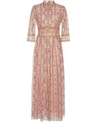 Costarellos Floral-embroidered Tulle Midi Dress - Pink