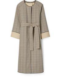 Tory Burch Trapunto Plaid Cotton Coat - Multicolor