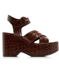 STAUD Jane Croc-effect Leather Platform Sandals - Brown