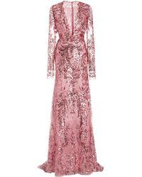 Naeem Khan Sequined Chiffon Gown - Pink