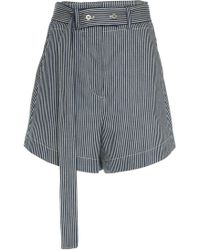 Cedric Charlier - Stripe Cotton Shorts - Lyst