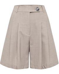 Anna Quan Ethan Pleated Wool Knee-length Shorts - Grey