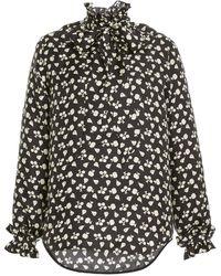 Victoria Beckham Ruffled Printed Silk Tie-neck Top - Black