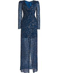 Jenny Packham Wrap-effect Sequined Dress - Blue