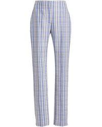 Carolina Herrera Plaid Stretch-wool Trousers - Blue