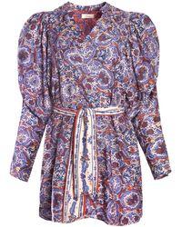 Chufy Ma Puff-sleeve Cotton-silk Voile Mini Dress - Multicolour