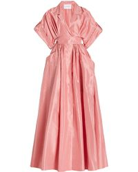 Carolina Herrera Belted Silk Taffeta Shirt Gown - Pink