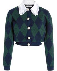 Alessandra Rich Collared Argyle-knit Cropped Cardigan - Blue