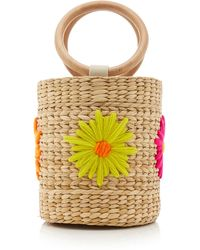 Poolside Bobbi Floral-embroidered Straw Bucket Bag - Multicolour