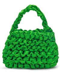 Miista Theodore Knotted Satin Bag - Green