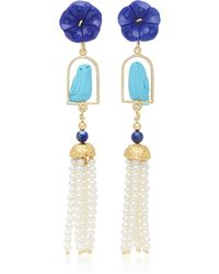 Of Rare Origin | Swingers 18k Yellow Gold Vermeil, Lapis, Turquoise And Pearl Earrings | Lyst