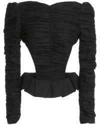Khaite Rosy Ruched Cotton Top - Black