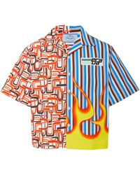 Prada - Flame Printed Cotton-twill Shirt - Lyst