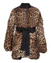 Giambattista Valli - Ruched Leopard Print Coat With Bow Waistline - Lyst