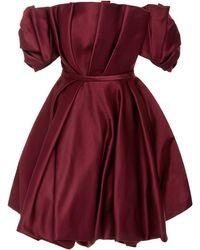 Elizabeth Kennedy - Pleated Off-the-shoulder Mini Dress - Lyst