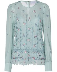 Luisa Beccaria Floral Embroidered Silk Blouse With Scarf - Blue
