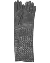 Bottega Veneta Long Woven Leather Gloves - Black