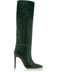 Paris Texas Croc-embossed Leather Knee Boots - Green