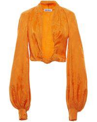 The Attico Knotted Cropped Satin-jacquard Blouse - Orange