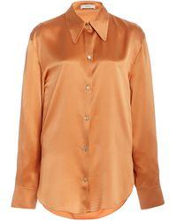 Vince Silk-satin Shirt - Orange