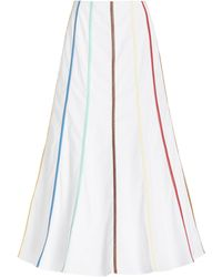 Rosie Assoulin Faux Leather-trimmed Cotton Maxi Skirt - White