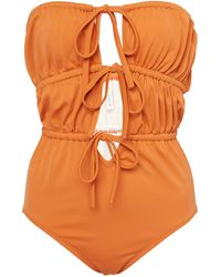 Solid & Striped Paula Strapless Tie-front Swimsuit - Brown
