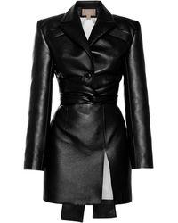 Matériel Belted Faux Leather Mini Dress - Black