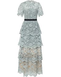 Self-Portrait Floral Embroidered Guipure Lace Tiered Gown - Green