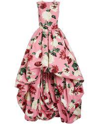 Oscar de la Renta Floral-print Asymmetric-hem Crepe Gown - Pink