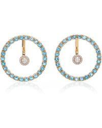 Mateo Gold, Blue Topaz And Floating Diamond Earrings