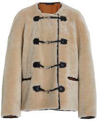 Totême Leather-trimmed Shearling Jacket - White