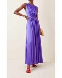 ROKSANDA Alesis Shirred Silk Gown - Blue
