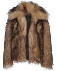 Paco Rabanne Collared Imitation Fur Jacket - Brown