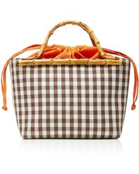 Glorinha Paranagua Monte Carlo Small Checked Cotton Basket Bag - Brown